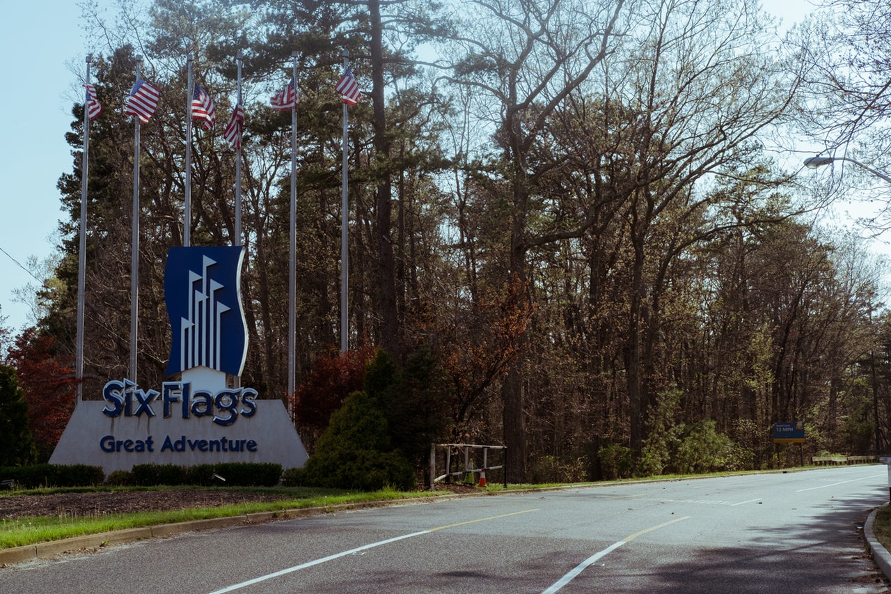 The entrance to Six Flags Great Adventure, which is located in Jackson, New Jersey — a central region of the state.